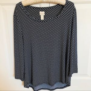 Chicos Navy Blue & white polka dot crew neck top